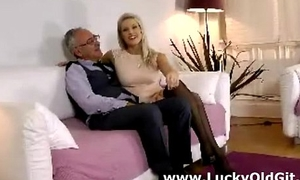 Blonde british girl in stockings plays with her pussy added to teases old man
