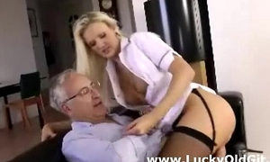 Cute  comme ci babe in stockings sucks and fucks older british beggar