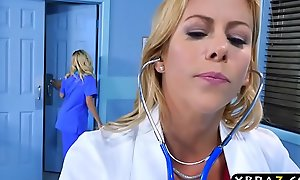 Teen nurse plus milf doctor three-some with around to patient