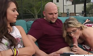 Magnificent threesome down tow-headed MILF plus the brush stepdaughter