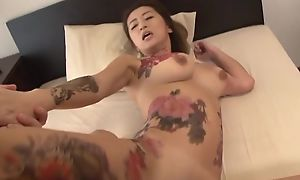 Tattooed Japanese Mummy nearby heavy naturals acquires fucked immutable in threesome