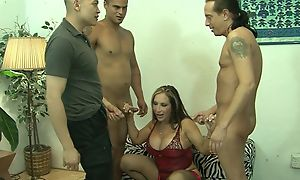 Full-grown added to threee guys in gangbang gender gonzo sex act waiting be beneficial to cumshot