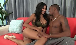 Dark-skinned damsel on touching bubbly tits enjoys grave pussy pounding